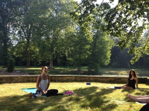 Enjoying yoga with magnificent Elissa Joi Lewis. I'm the one, all in black, lounging beside the thousand year old moat.