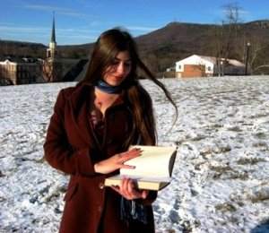 Posing with a book of Shelley many years ago at Hollins University, my alma mater